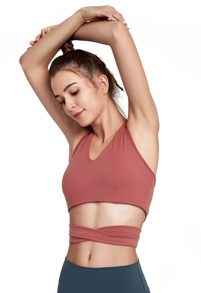 Bowknot I-Shaped Back Low-Impact Sports Bra in Rust Red