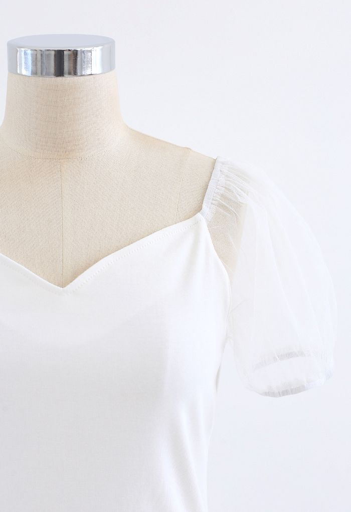 Mesh Bubble Sleeves Spliced Sweetheart Neck Top in White