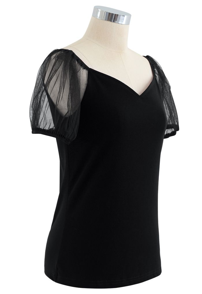 Mesh Bubble Sleeves Spliced Sweetheart Neck Top in Black