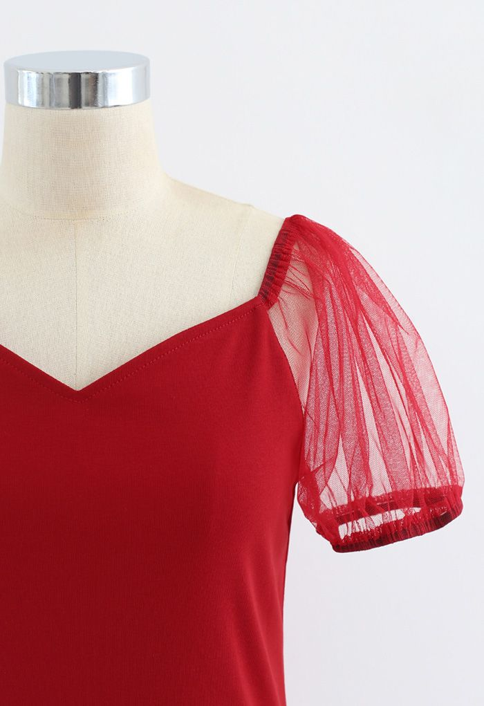 Mesh Bubble Sleeves Spliced Sweetheart Neck Top in Red