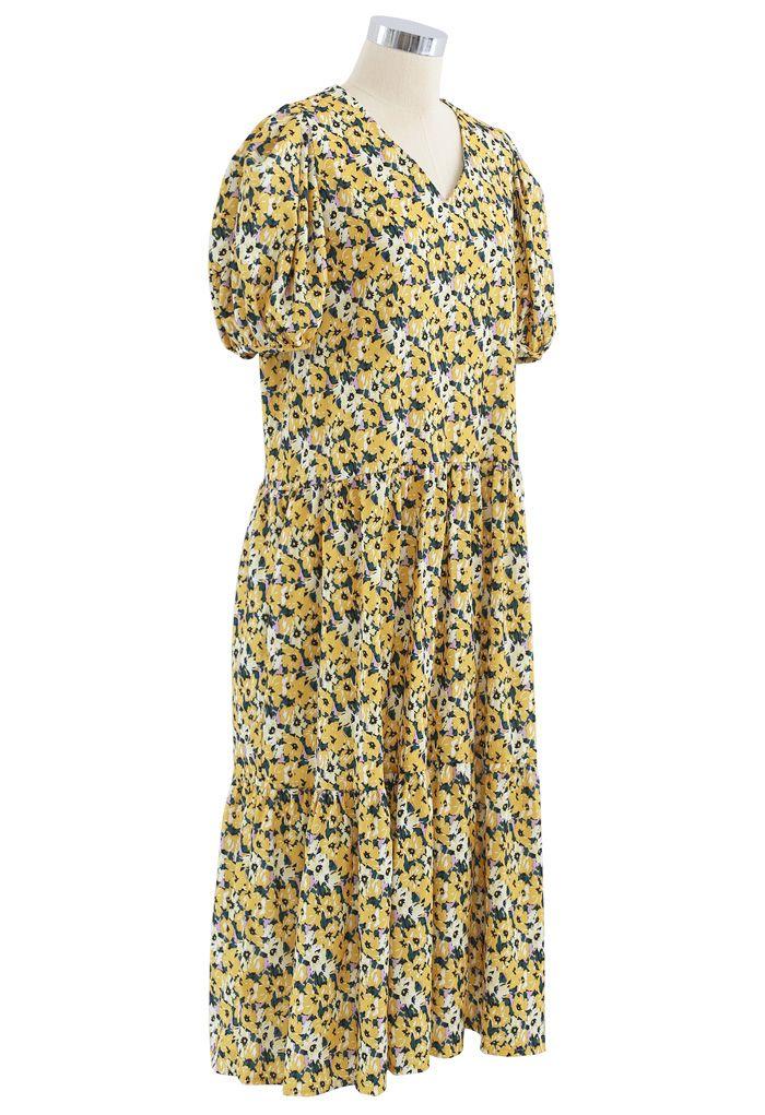 Yellow Flower Puff Sleeve Frilling Midi Dress