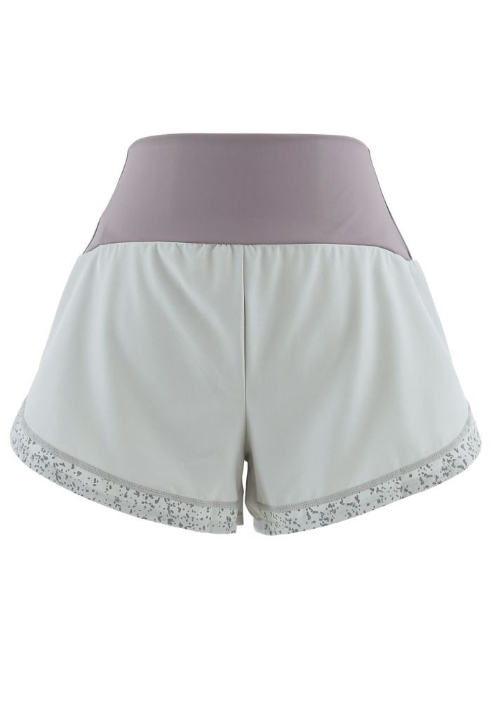 Contrast Color Spot Trim Luminous Sports Shorts in Pistachio