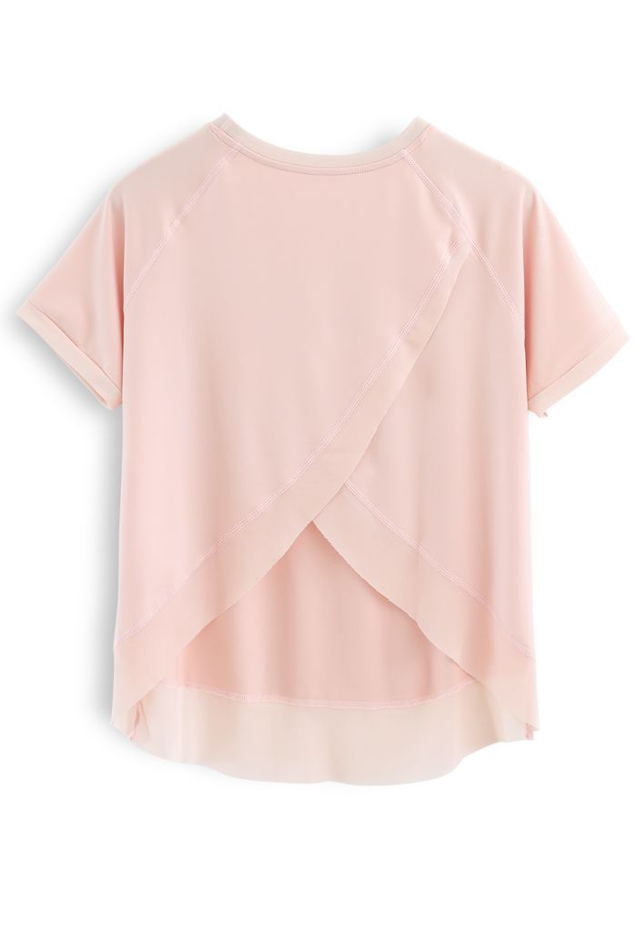 Crisscross Flap Mesh Inserted Lightweight Tee in Nude Pink