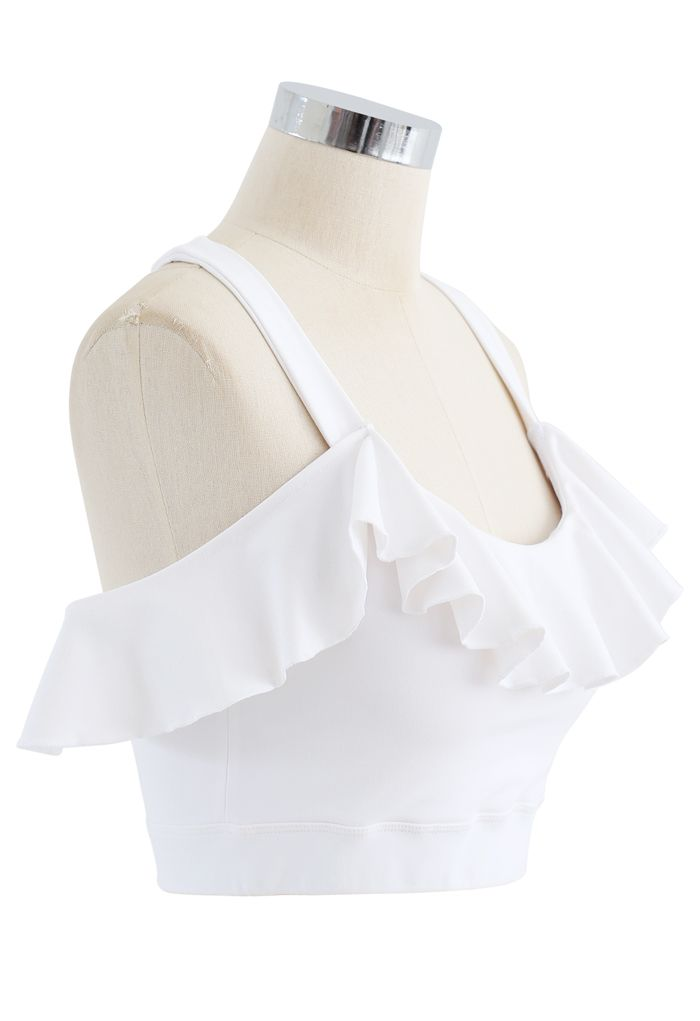Ruffle Trim I-Shaped Back Low-Impact Sports Bra in White