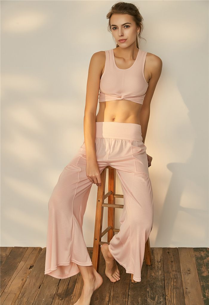 Twist Front Ribbed Sleeveless Low-Impact Sports Bra in Nude Pink