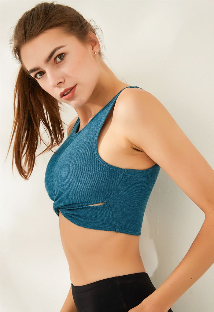 Twist Front Ribbed Sleeveless Low-Impact Sports Bra in Turquoise
