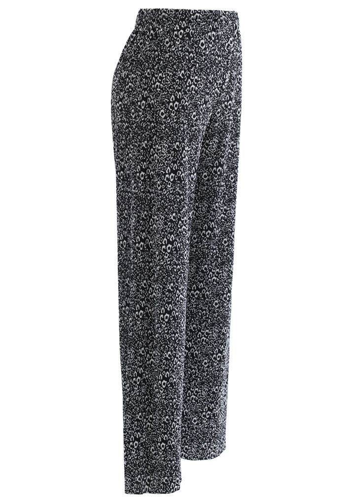 Animal Print Pleated Split Wide-Leg Pants in Black