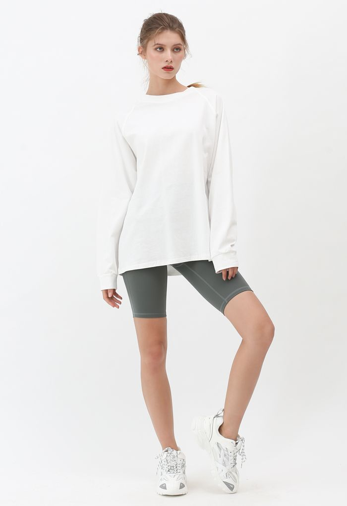 Long Sleeves Loose Pullover Sweatshirt in White