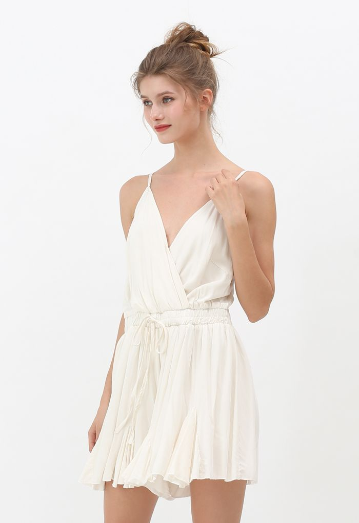 Ruffle Hem Wrapped Cami Playsuit in Ivory