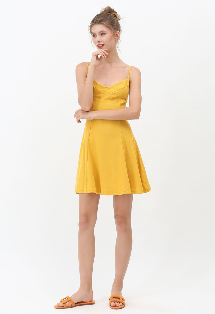 Fit and Flare Ribbed Cami Skater Dress in Mustard