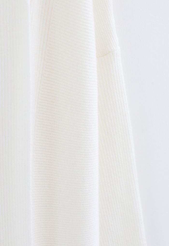 Basic Rib Knit Drape Neck Cardigan in White