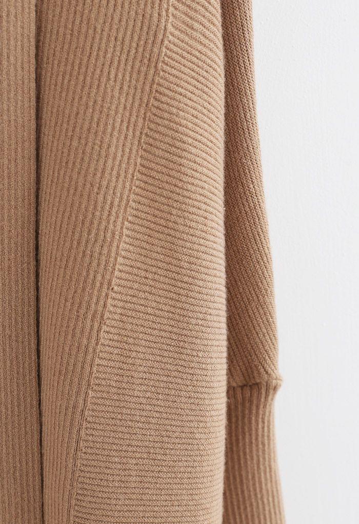 Basic Rib Knit Drape Neck Cardigan in Caramel