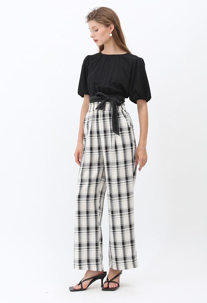 Plaid Pattern Pocket Wide-Leg Pants