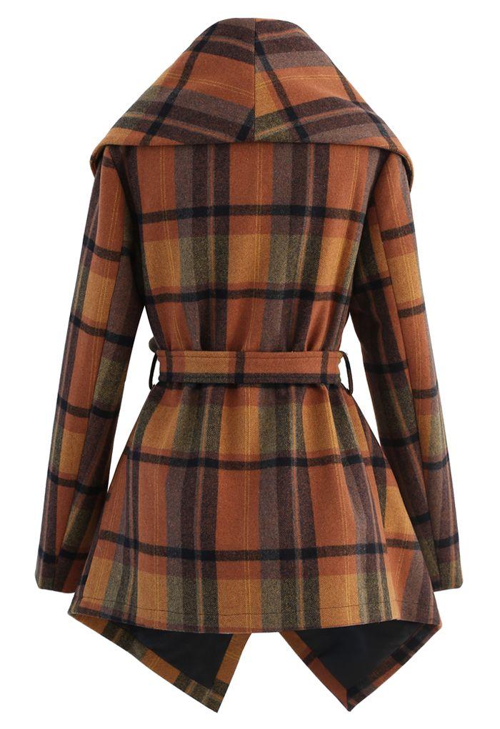 Plaid Pattern Rabato Coat in Caramel