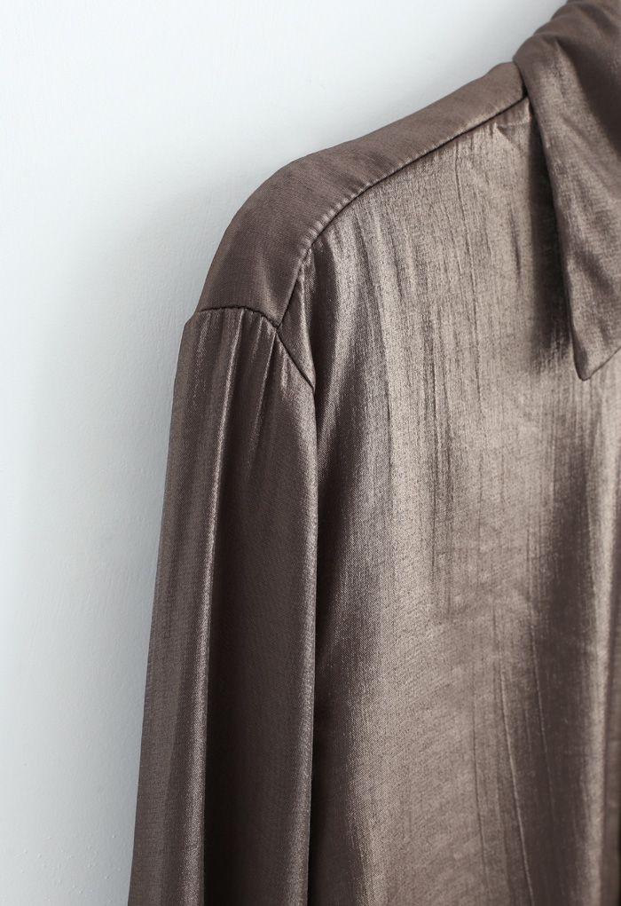 Glitter Button Down Split Hi-Lo Shirt in Brown