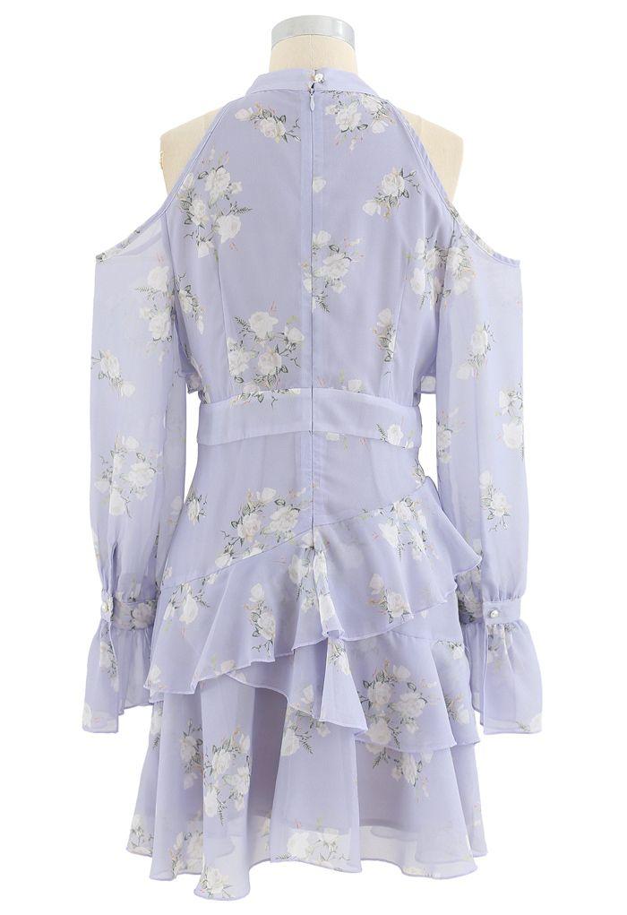 Lavender Gardenia Impress Cold-Shoulder Chiffon Dress