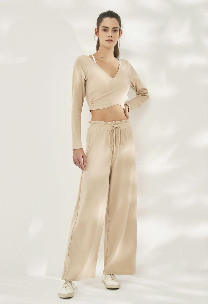 Drawstring Paper-Bag Waist Ribbed Yoga Pants in Sand