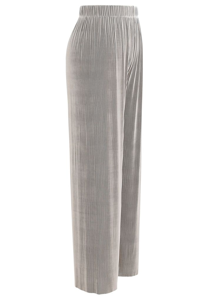 Contrasted High-Waisted Ribbed Pants in Sand