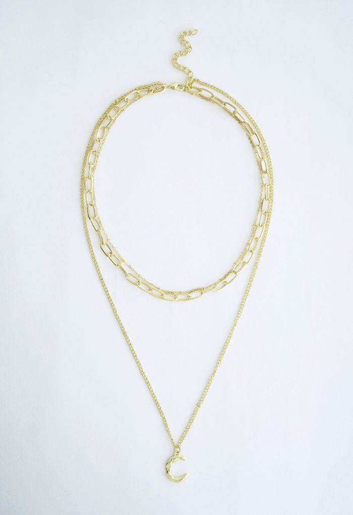 Gold Moon Chain Pendant Layered Necklace