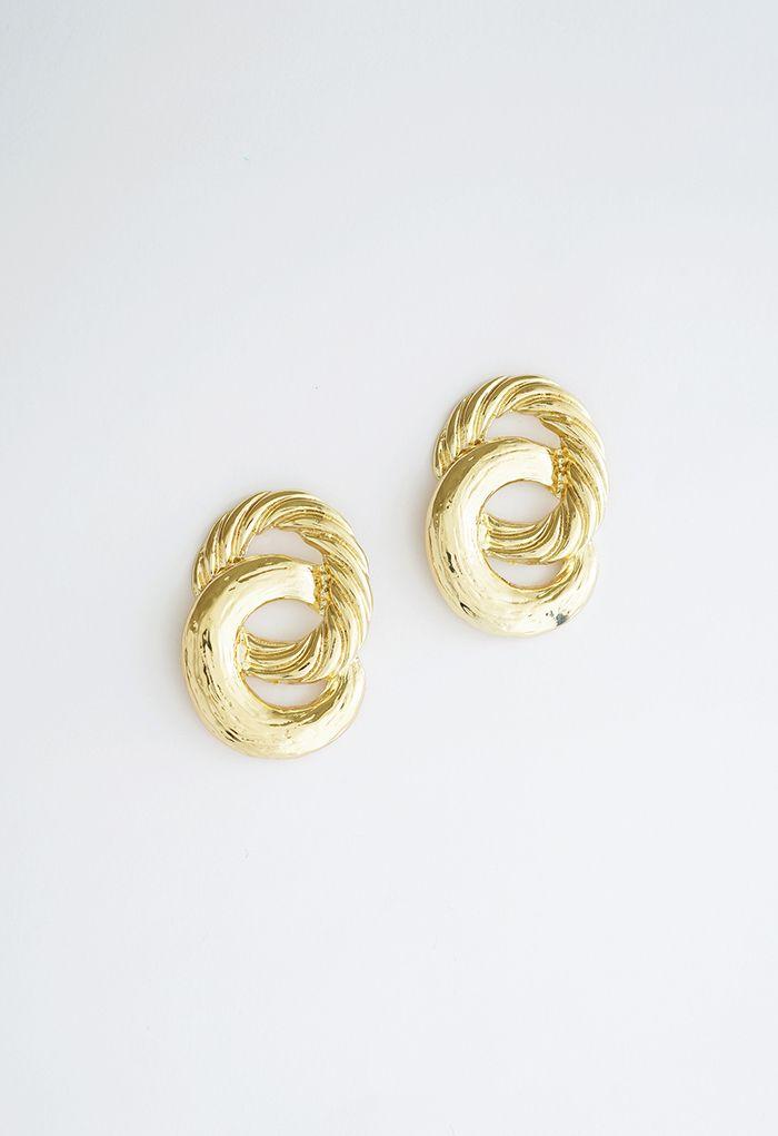 Twist Circle Gold Earrings