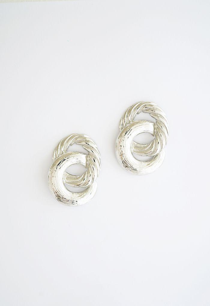Twist Circle Silver Earrings