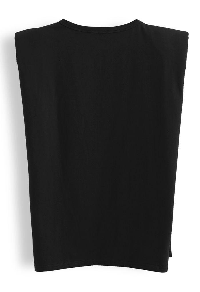 Padded Shoulder Sleeveless Top in Black