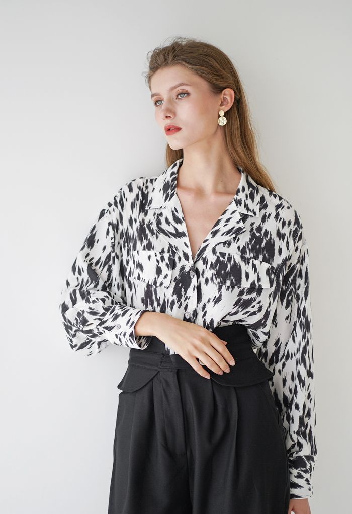 Artistic Brushes Contrasted Color Shirt in White