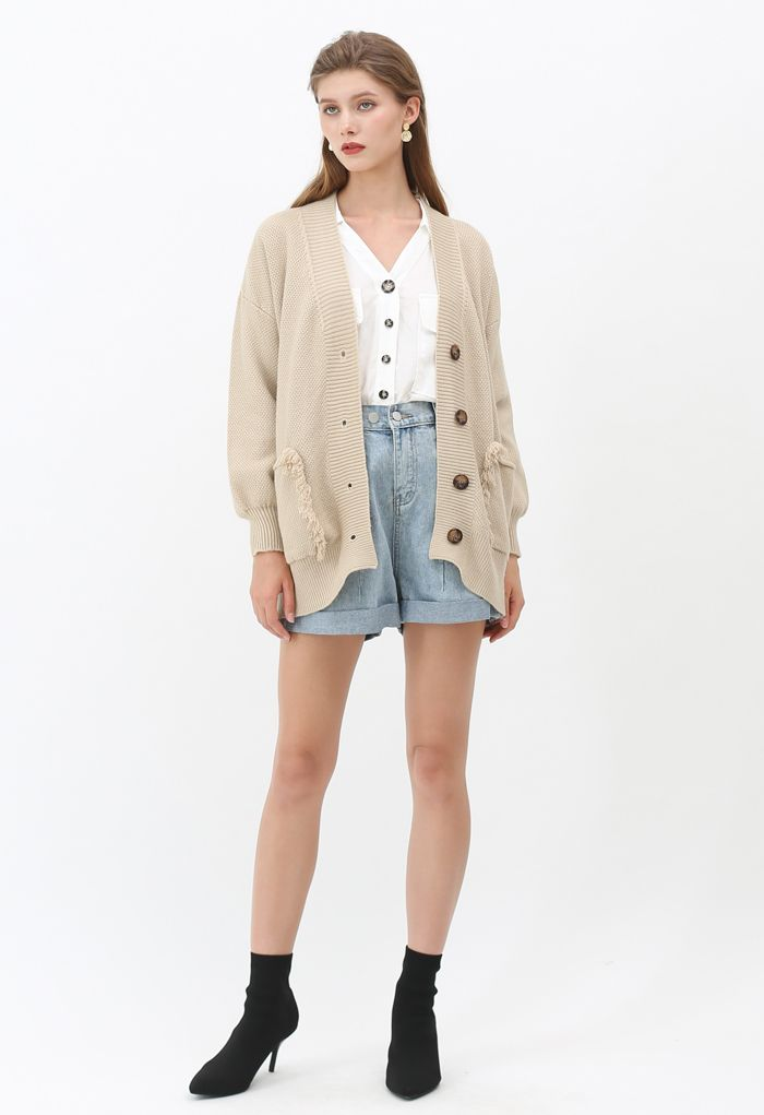 V-Neck Fringed Pockets Waffle Knit Cardigan