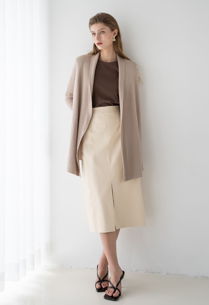 Basic Rib Knit Drape Neck Cardigan in Sand