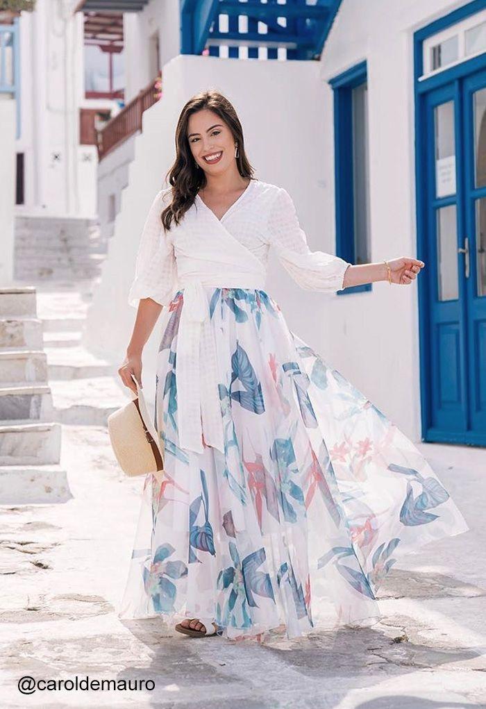 Tropical Floral Aquarelle Jupe Longue en Blanc