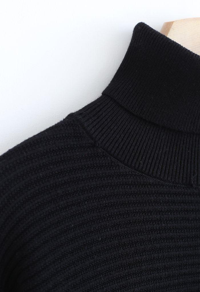 Basic Rib Knit Cowl Neck Crop Sweater in Black