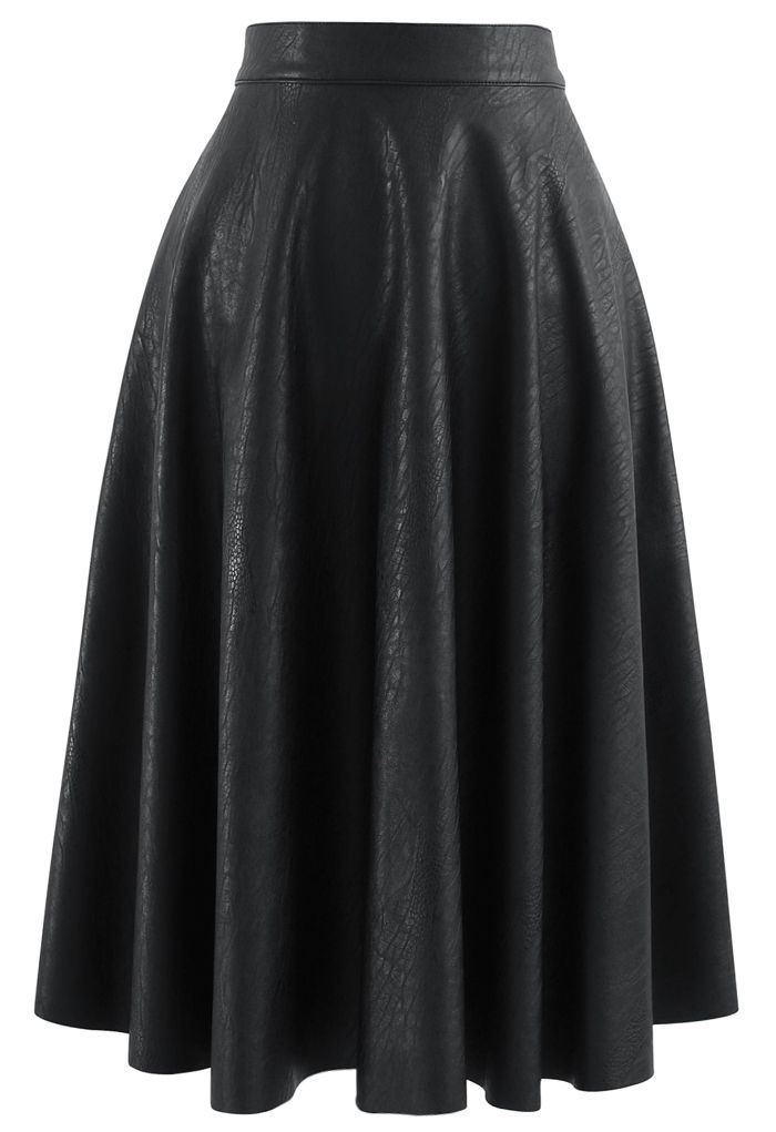 Faux Leather Crocodile Embossed A-Line Midi Skirt in Black