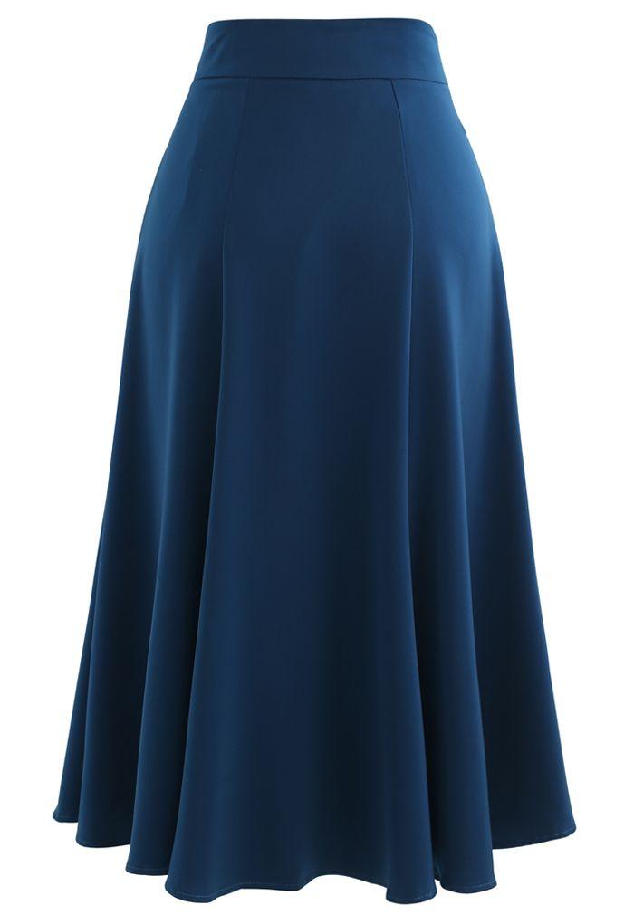 Satin A-Line Midi Skirt in Indigo