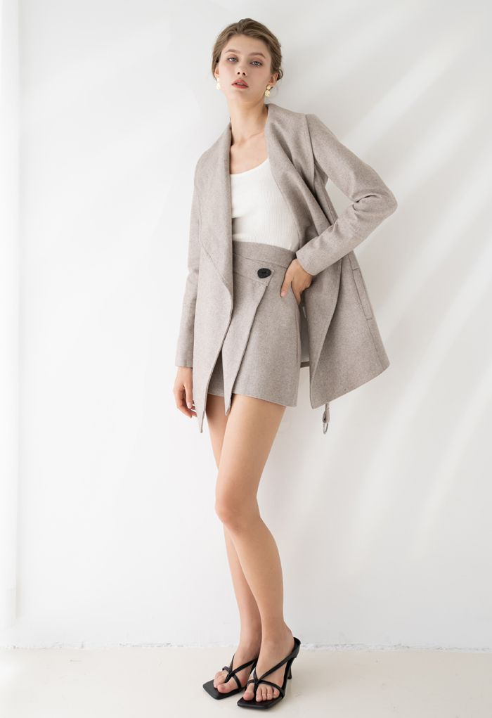 Rabato Wrap Belted Wool-Blend Coat in Light Tan