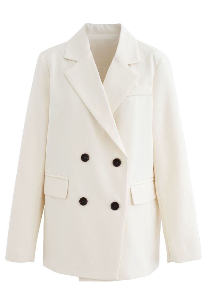 Fake Pocket Double-Breasted Blazer in Cream