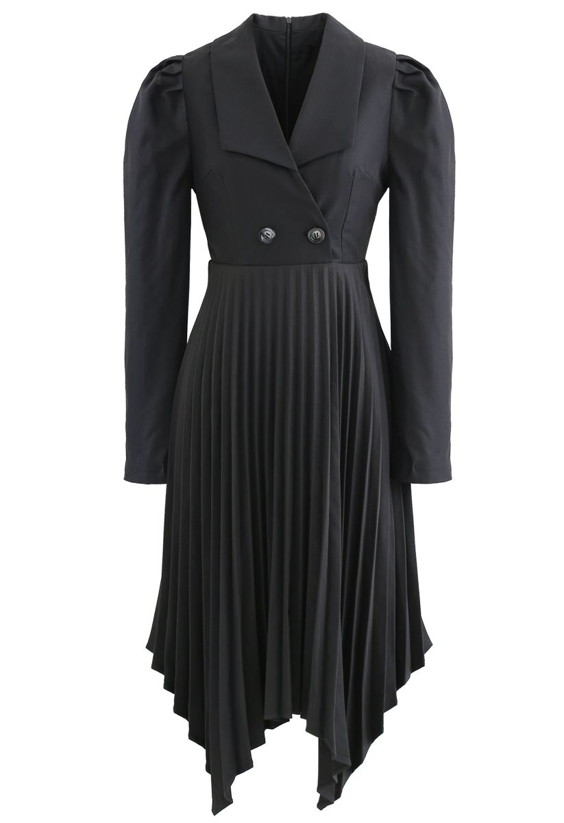 Asymmetric Pleated Buttoned Blazer Dress in Grey