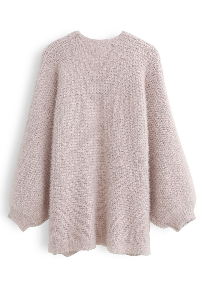 Fuzzy Open Front Waffle Knit Cardigan in Dusty Pink