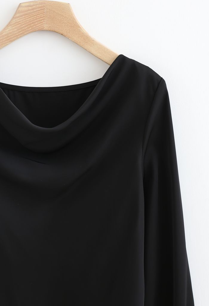 Satin Drape Neck Versatile Shirt in Black