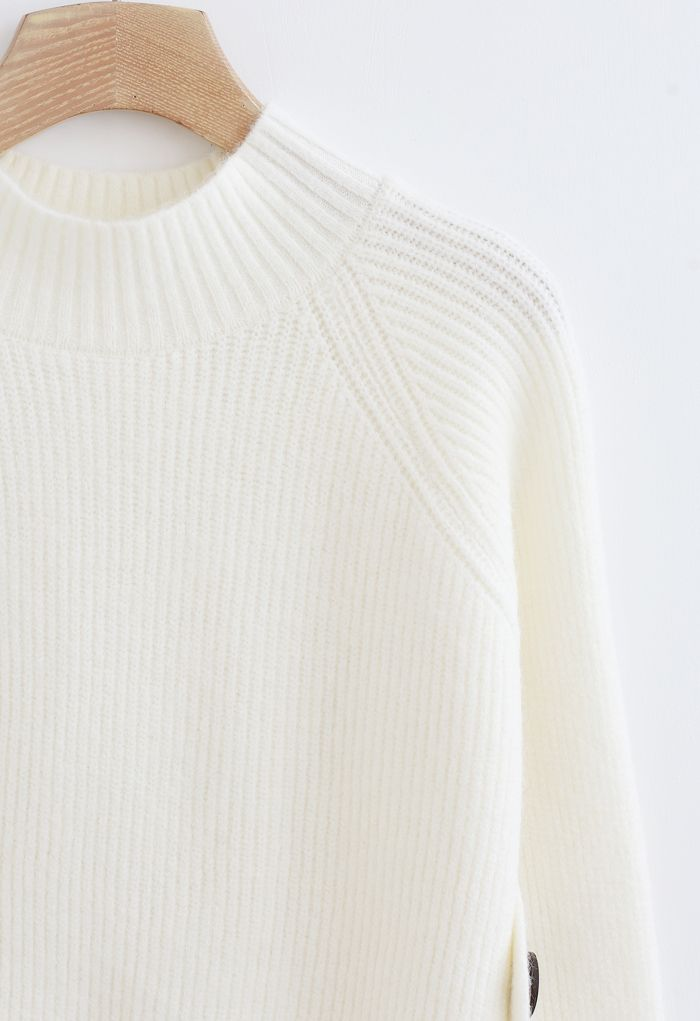 Button Side Hi-Lo Knit Sweater in Ivory