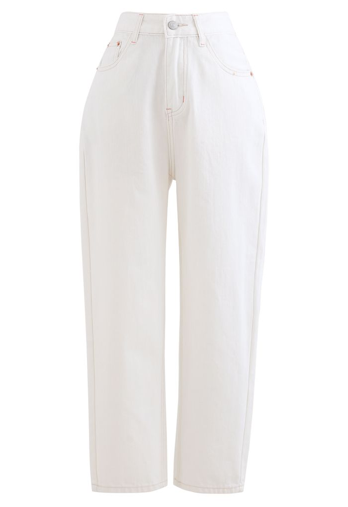 Straight-Leg Crop Jeans in White