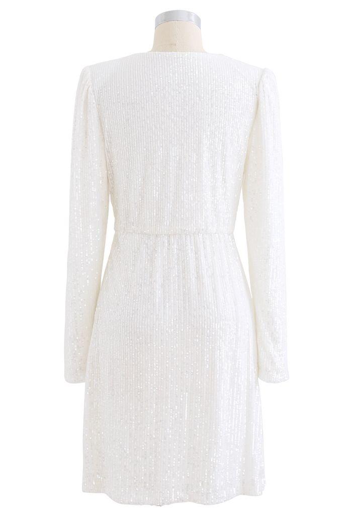 Shimmer Sequin Padded Shoulder Mesh Dress in Pearl White