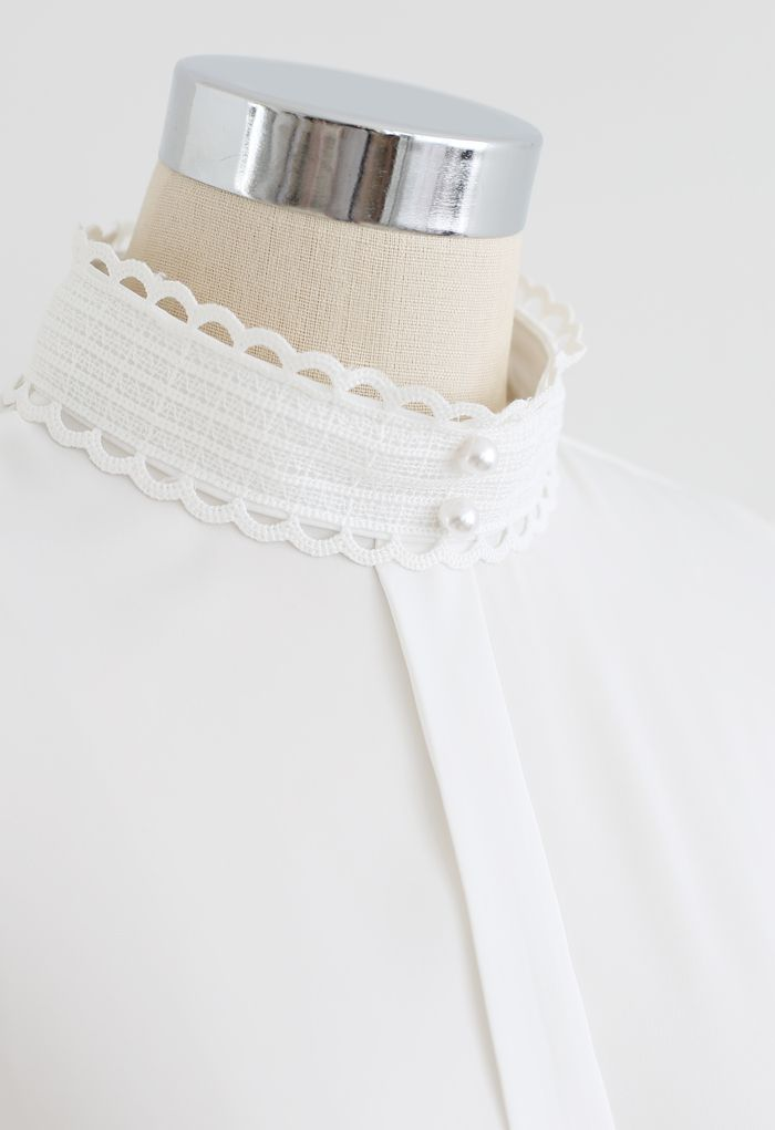 Satin Pearl Crochet Mock Neck Top in White