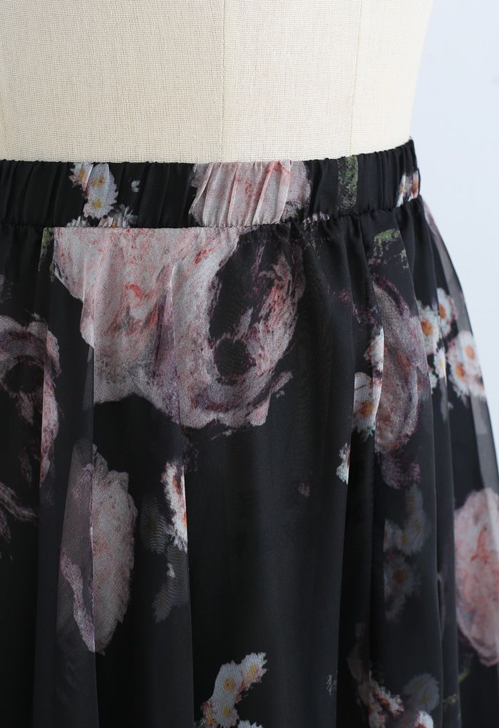 Pink Rose Watercolor Maxi Skirt
