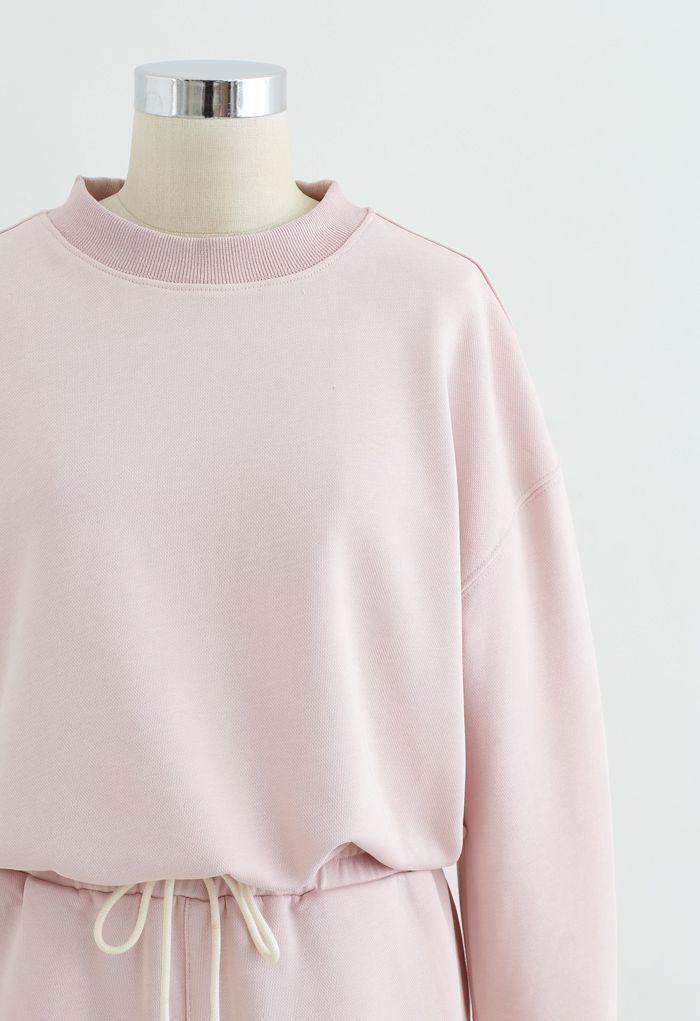 Round Neck Sweatshirt and Drawstring Shorts Set in Light Pink