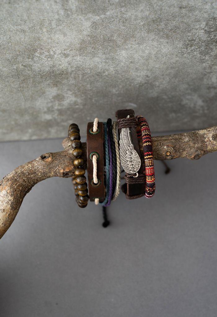 5 Packs of Wing Braided String Bracelets