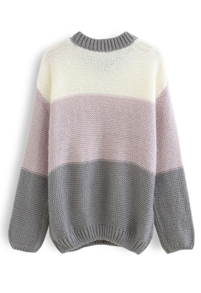 Block Striped Oversize Knit Sweater in Grey