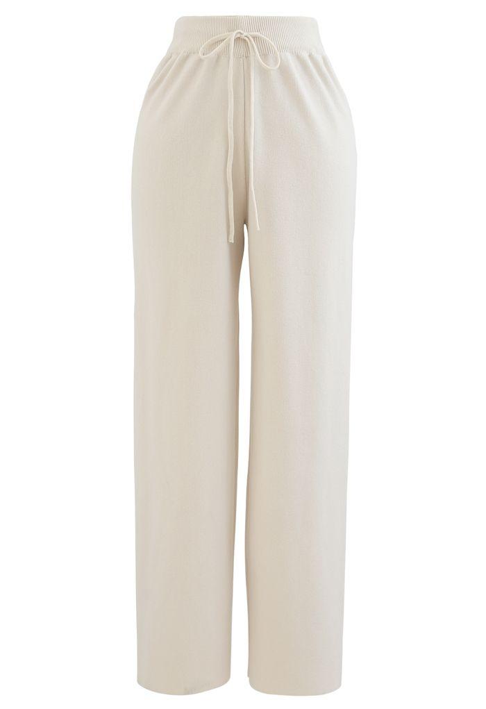 Straight Leg Drawstring Waist Knit Pants in Cream