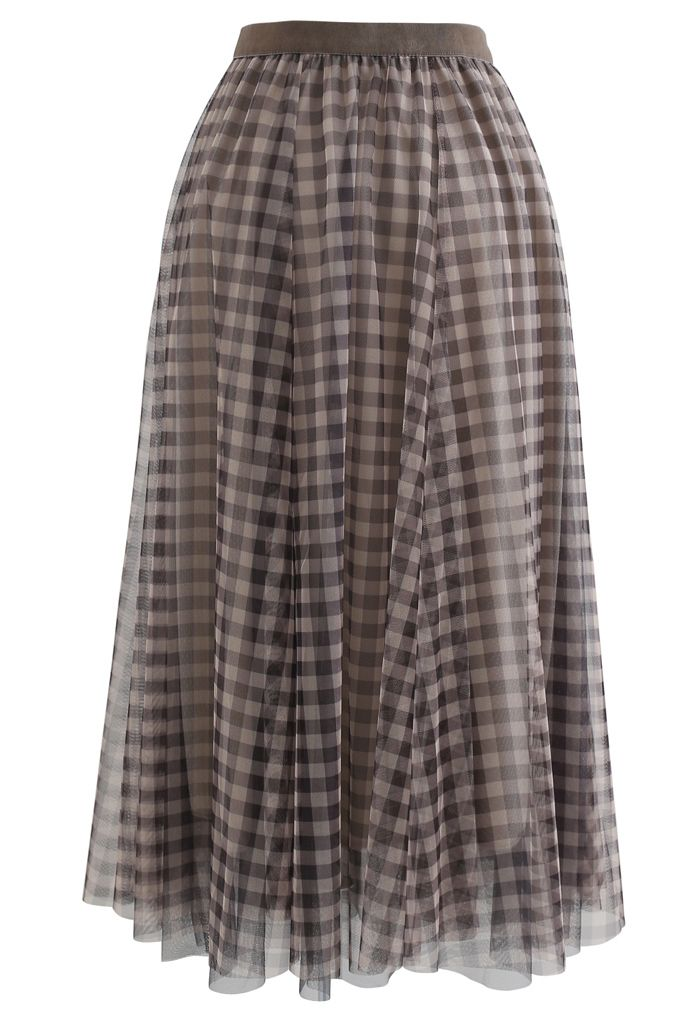 Gingham Double-Layered Mesh Tulle Midi Skirt in Brown