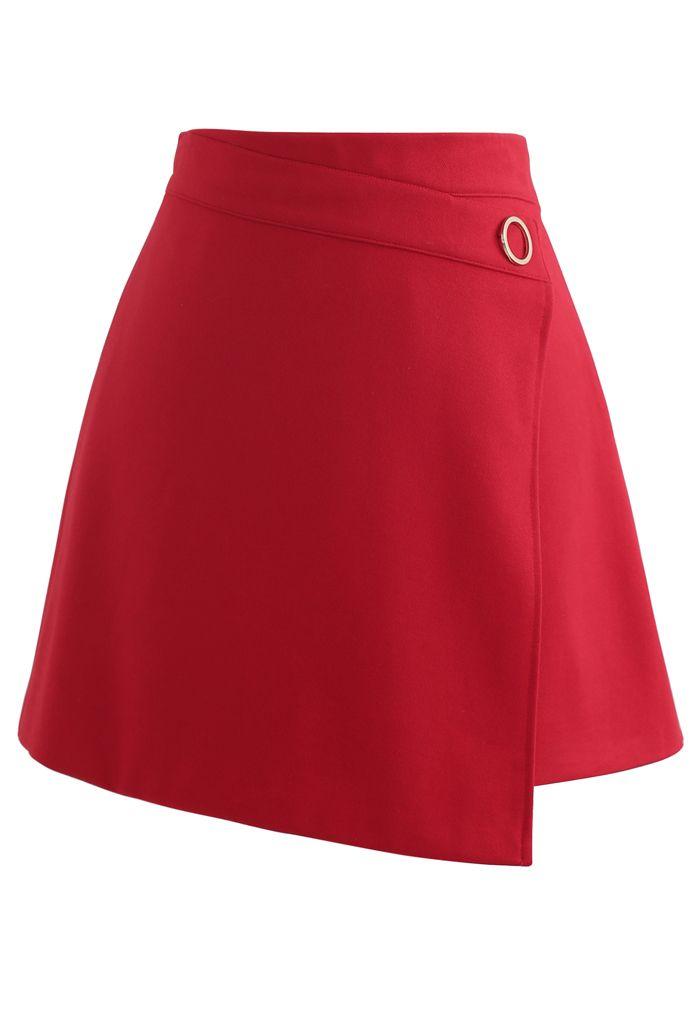 O-Ring Detail Asymmetric Hem Mini Skirt in Red