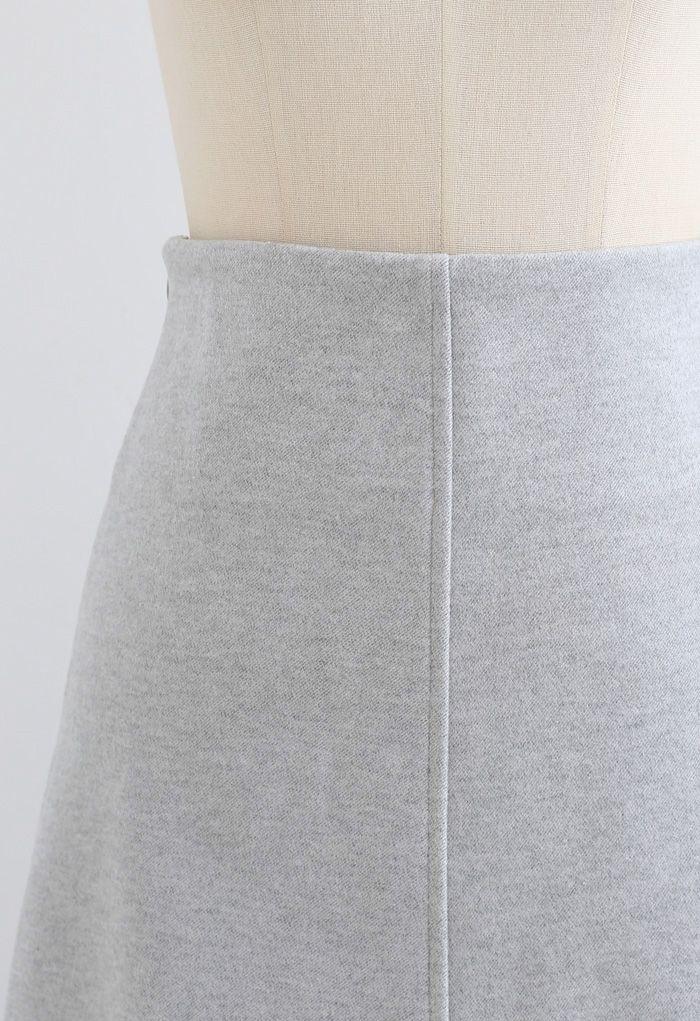 Seamed Detail Wool-Blend Flare Skirt